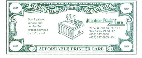 Buy 1 printer service and get the 2nd printer serviced for 1/2 price!