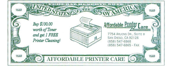 Buy $100 worth of toner and get 1 FREE printer cleaning!